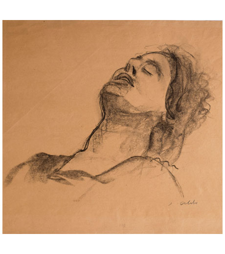 Portrait of a man reclining, drawing by Jussuf Abbo