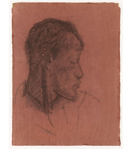 Portrait of an African man, charcoal drawing by Jussuf Abbo
