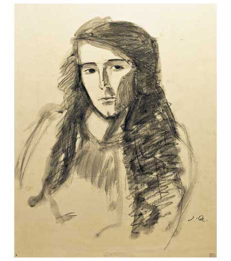 Portrait of woman facing left, drawing by Jussuf Abbo