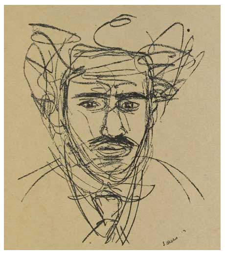 Self-portrait, drawing by Jussuf Abbo