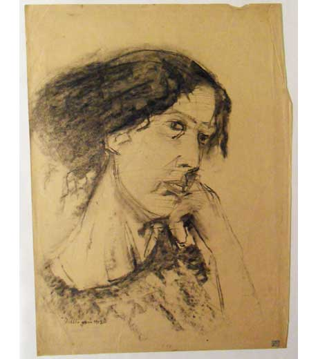 Woman with hand leaning on chin, drawing by Jussuf Abbo