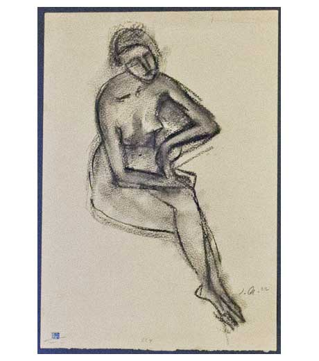 Woman seated, nude, charcoal drawing by Jussuf Abbo