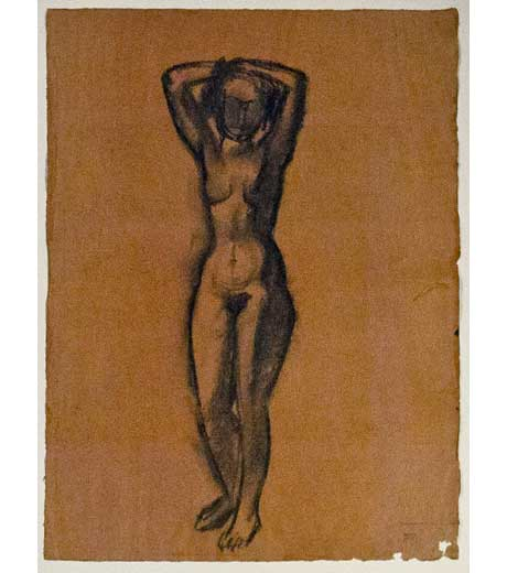 Woman standing, nude, charcoal drawing by Jussuf Abbo