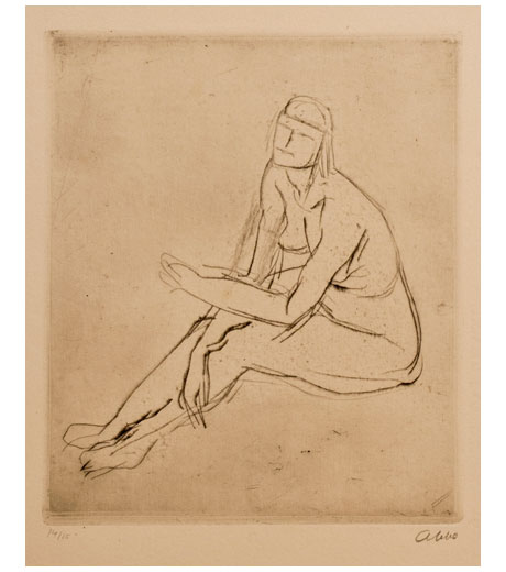 Woman seated, nude, etching by Jussuf Abbo