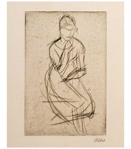Woman seated, etching by Jussuf Abbo