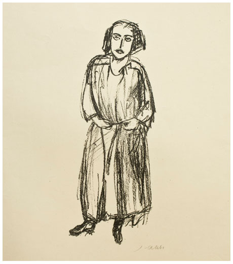 Portrait of Else Lasker-Schüler, lithograph by Jussuf Abbo