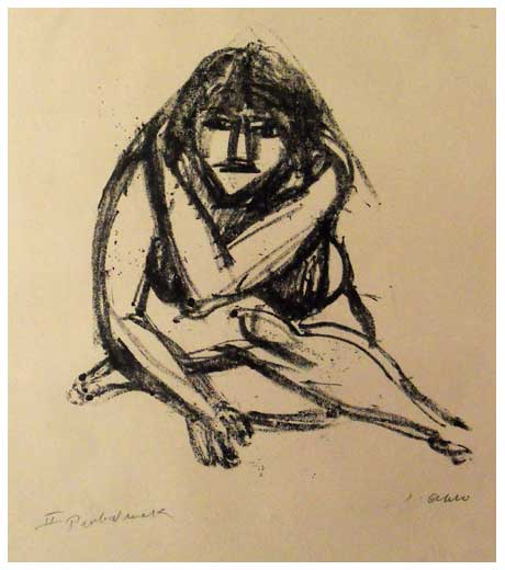 Crouching girl, lithograph by Jussuf Abbo