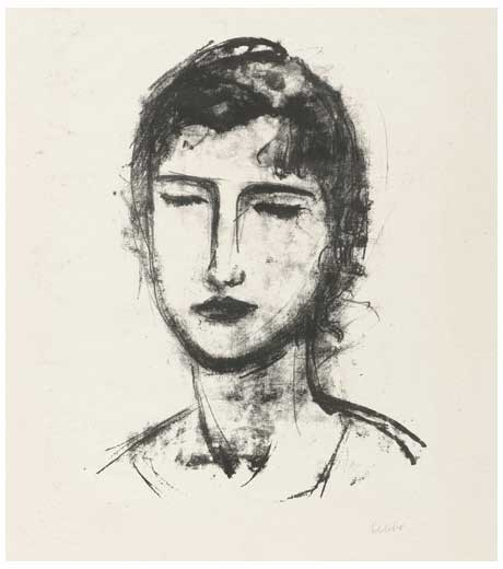 Head and shoulders of a girl, lithograph by Jussuf Abbo