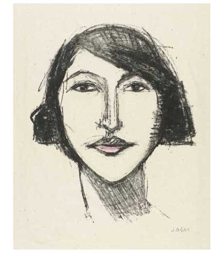 Head of a girl, full face, lithograph by Jussuf Abbo