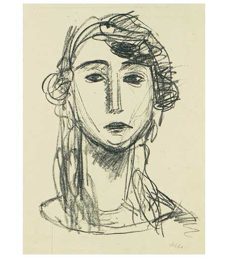 Head of a girl with long hair, lithograph by Jussuf Abbo