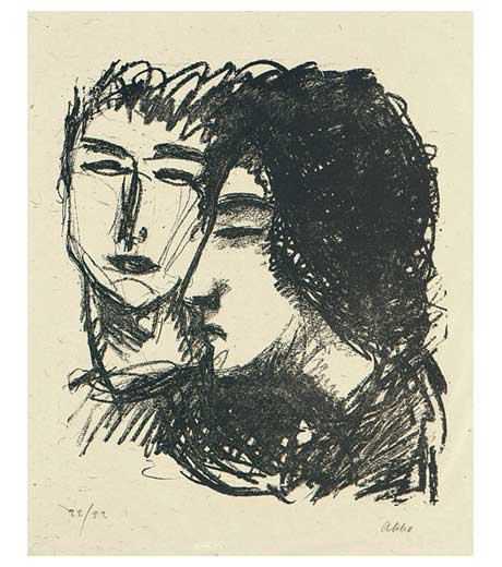 Man and a girl, lithograph by Jussuf Abbo