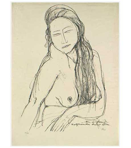 Woman with long hair, nude, lithograph by Jussuf Abbo