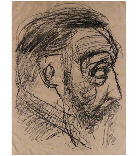 Portrait of an old man, lithograph by Jussuf Abbo