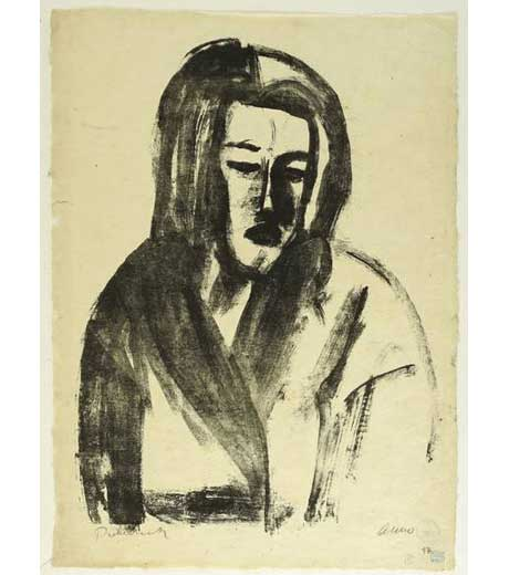 Portrait of a woman, lithograph by Jussuf Abbo