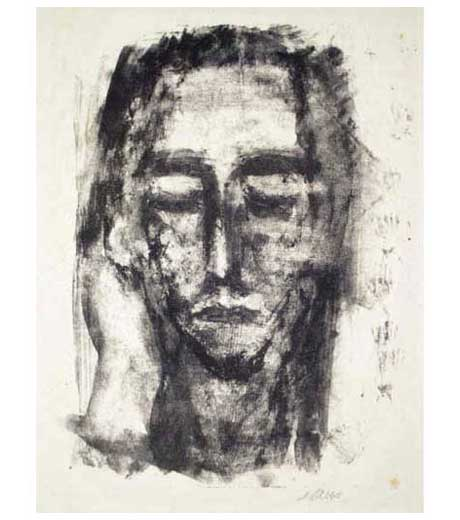 Self-portrait, lithograph by Jussuf Abbo