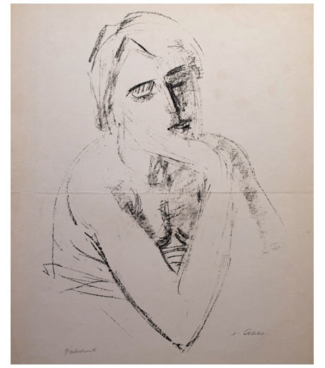 Woman with hand leaning on chin, lithograph by Jussuf Abbo
