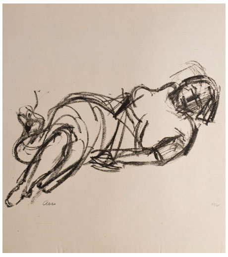 A Woman lying down, lithograph by Jussuf Abbo