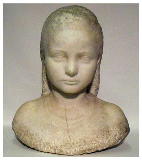 Bust of a girl in marble by Jussuf Abbo