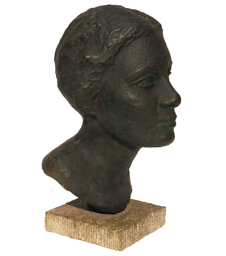 Girl's head in bronze by Jussuf Abbo