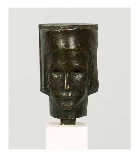 Head with helmet in bronze by Jussuf Abbo