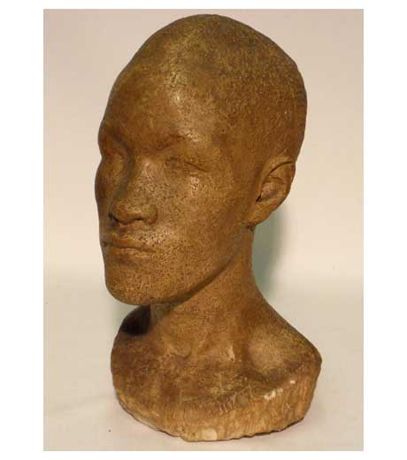 Man's head (ceramic) by Jussuf Abbo