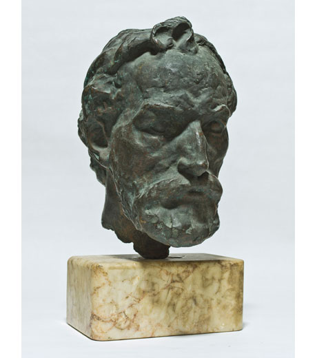 Old man's head in bronze by Jussuf Abbo