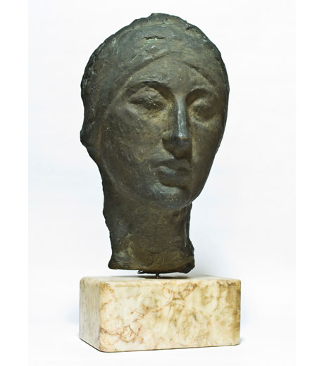 Woman's head in bronze 1916 by Jussuf Abbo