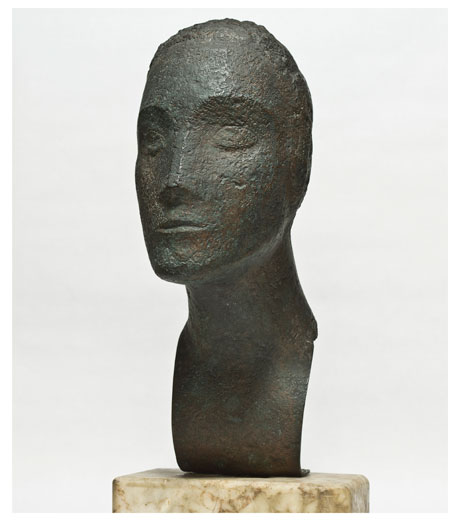 Woman's head in bronze by Jussuf Abbo