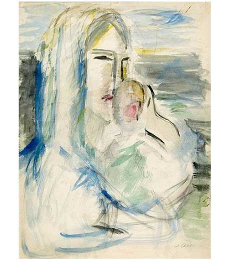 Mother with child, watercolour by Jussuf Abbo