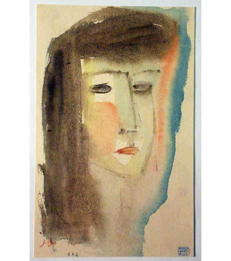Portrait of a woman, watercolour by Jussuf Abbo