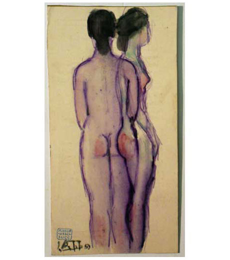 Two women standing, nude, watercolour by Jussuf Abbo