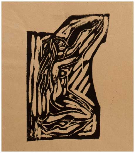 Woman kneeling, woodcut print by Jussuf Abbo